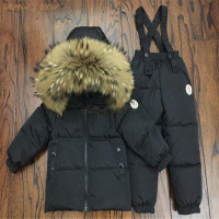 Russia Winter Children Down Clothing Sets Kids Raccoon Fur Collar Jackets+Bib Pants Suit For Boys Girls Ski Set Cyy287