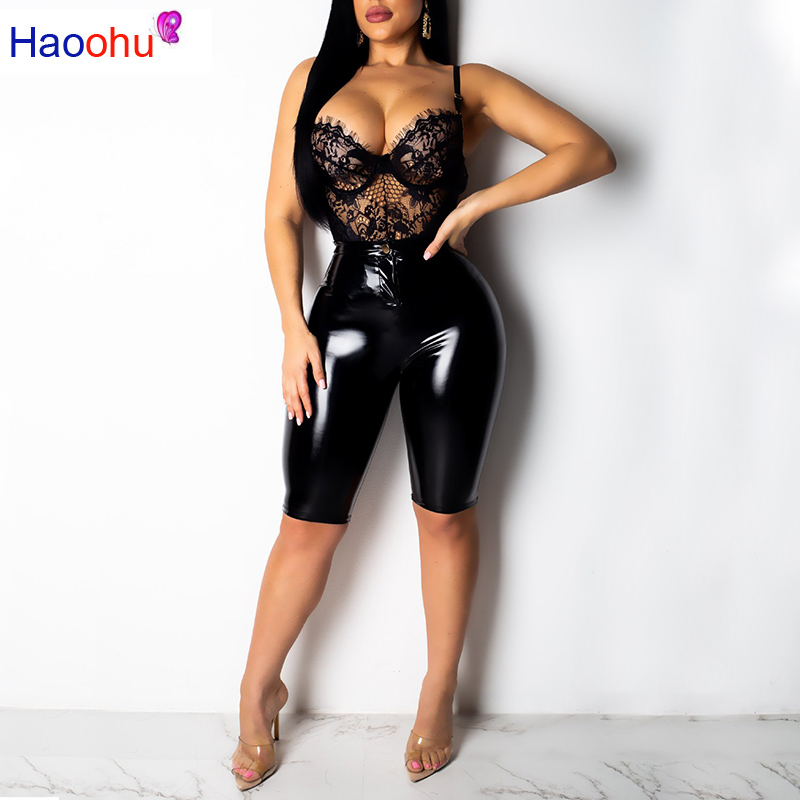 HAOOHU High Stretch PU Leather High Waist Shorts Women Black Pink Faux Leather Biker Shorts Push Knee Length Sexy Short Pants