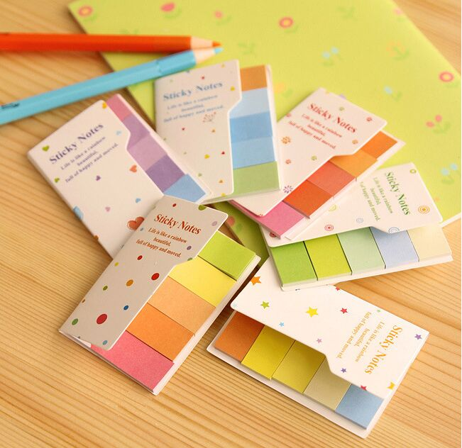 New Hot sale Cute Rainbow Color Sticky Notes post it Memo Pads sticky bookmark Office school papeleria