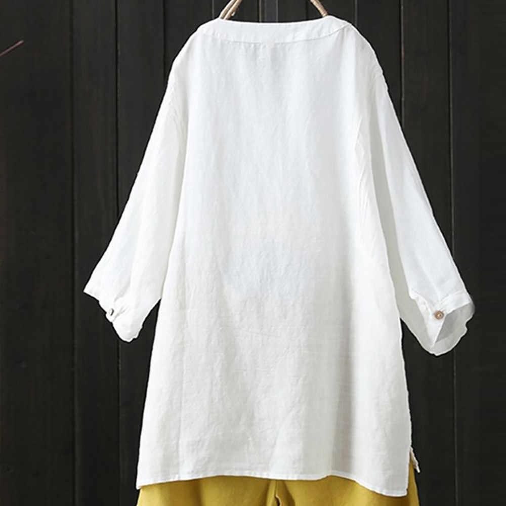 レディーストップスとブラウススタンド襟長袖シャツカジュアルルーズブラウスボタンダウンシャツ白黒女性 Blusas # L5 $