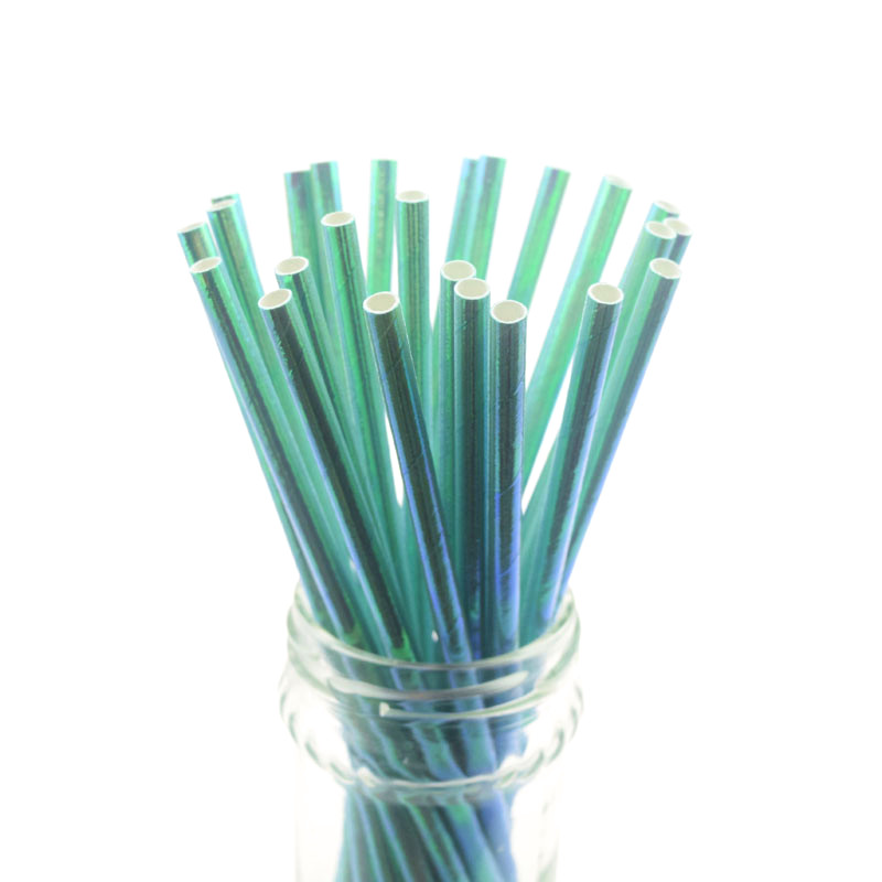 25pcs lot Pearl Rainbow Iridescent Paper Straws Kids Birthday Wedding Decor Bridal Shower Party Silver Drinking Paper Straws DIY in Disposable Party Tableware from Home Garden