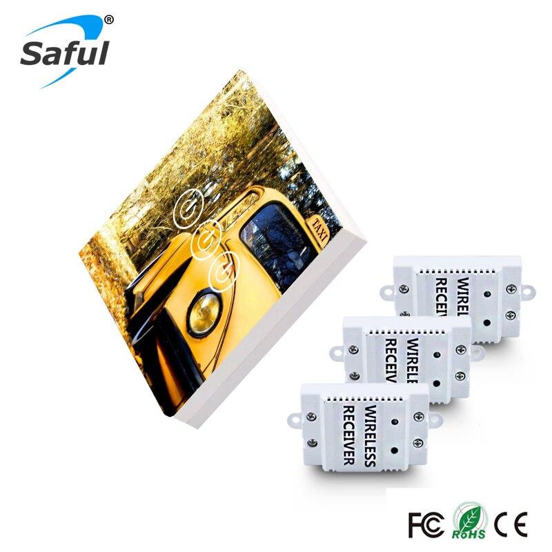 Saful image bricolage conception sans fil commutateur tactile 3 gangs 3 voies longue Distance avec 3 récepteurs mur lumière tactile interrupteur