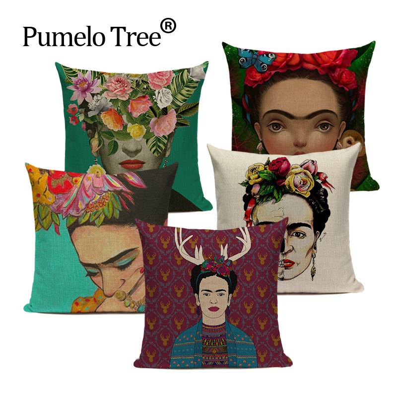 Decorative Linen South American Pastoral Art Abstract Color Woman Frida 45Cmx45Cm Square Howseware Decor Printing Pillow Cover