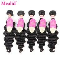 Mealid cabelo malaio feixes de ondas soltas 5 pcs feixes de cabelo não-remy extensão do cabelo humano 8-30 polegadas extensões de cabelo natural
