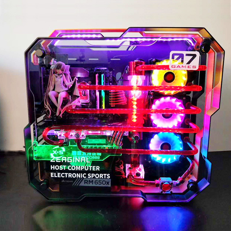 <font><b>i7</b></font> <font><b>7700k</b></font> 8G/16GB 1T GX1080 ATX Desktop gaming computer PC with MOD full aluminum alloy double tempered glass Water cooling case image