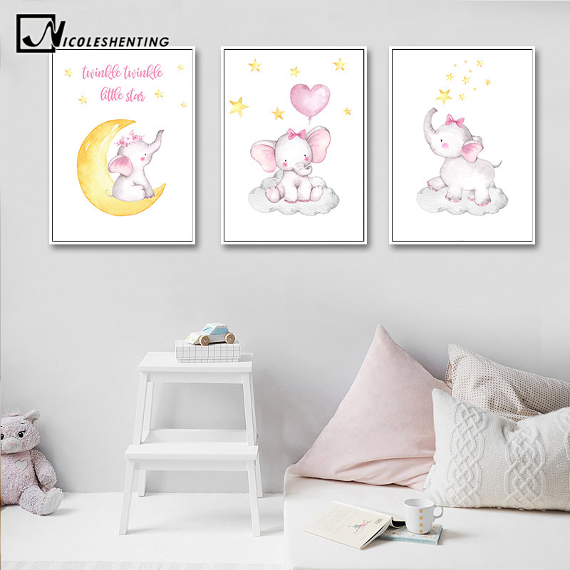 Us 2 91 48 Off Pink Elephant Animal Canvas Painting Baby Nursery Wall Art Poster And Print Nordic Kids Decoration Picture Bedroom Decor In