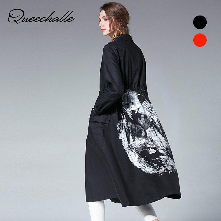 Queechalle Black Red Plus Size Women's Windbreaker Autumn   Trench   Coat Female Back Fashion Print Drawstring Waist Loose Long Coat