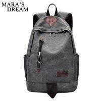 Mara S Dream Male Backpack New Fashion Shoulder Strap Zipper Solid Casual Bag School Bag Canvas
