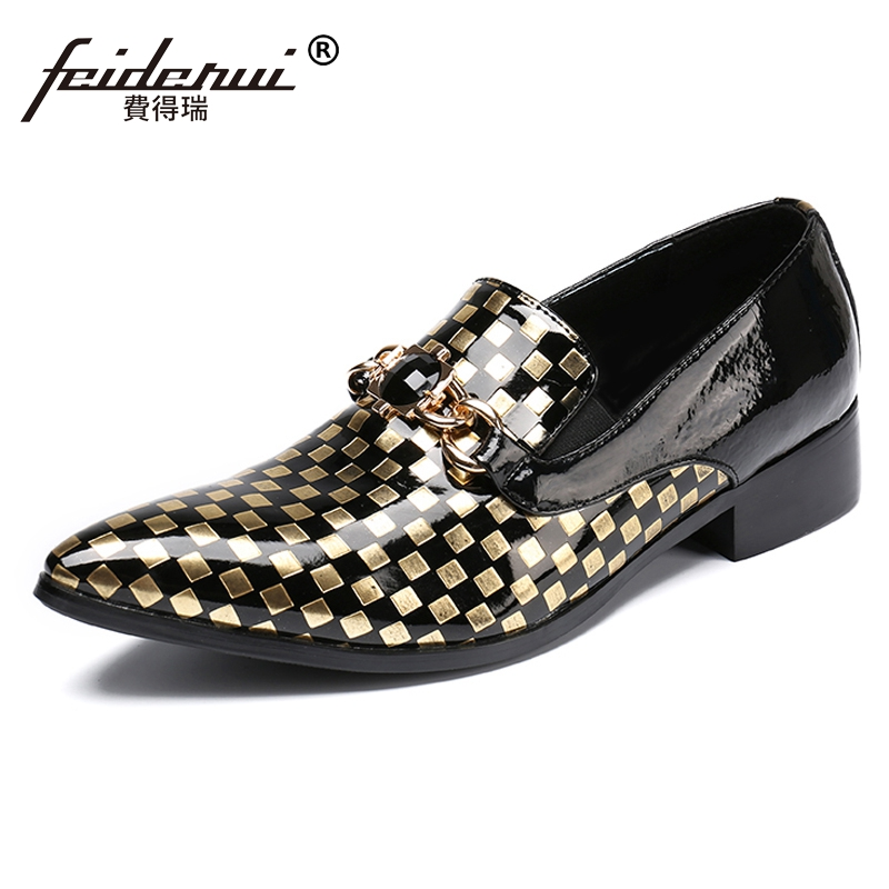 Plus Size Italian Plaid Rhinestone Man Wedding Party Loafers Patent Leather Pointed Toe Slip on Men's Runway Rocker Shoes SL107 plus size fashion pointed toe derby man runway footwear italian designer patent leather wedding party men s runway shoes sl435