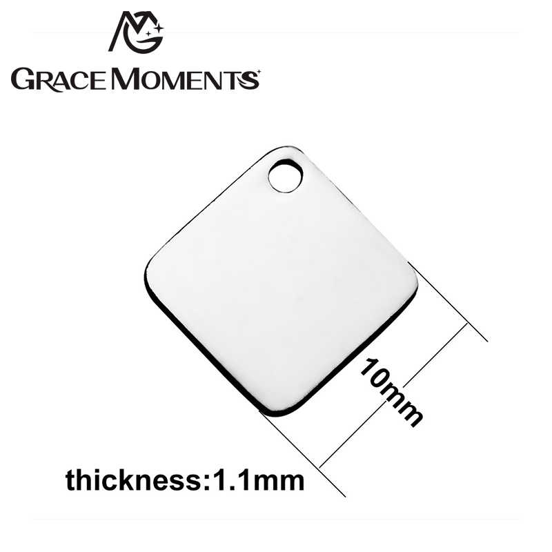 Grace Moments 20pcs/lot High Polishing 316L Stainless Steel DIY Charm Square Shape Cutting Charm Making Women Jewelry Gifts