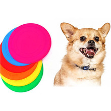 pet frisbee soft silicone play outdoor flying disc training dog toy random color