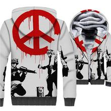 casual streetwear hip-hop jackets coats Banksy funny 3D printed mans clothing 2019 winter wool liner Graffiti tracksuits men