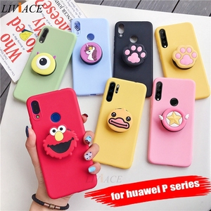 3D silicone cartoon phone holder case for huawei p30 p20 lite pro p8 p9 p10 lite plus 2017 2016 girl cute stand covers(China)