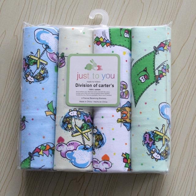 Бесплатная доставка carters100 % хлопок фланель детское одеяло 4 шт./упак. возчиков получения новорожденных красочные cobertor детские простыня 76x76 см