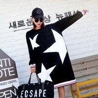 2017 היפ הופ אופנה בסתיו כוכב שרוול ארוך שמלה שחורה מעצב קוריאני נשים מקרית חורף סתיו מועדון מפלגה חמודה רופפת שמלות