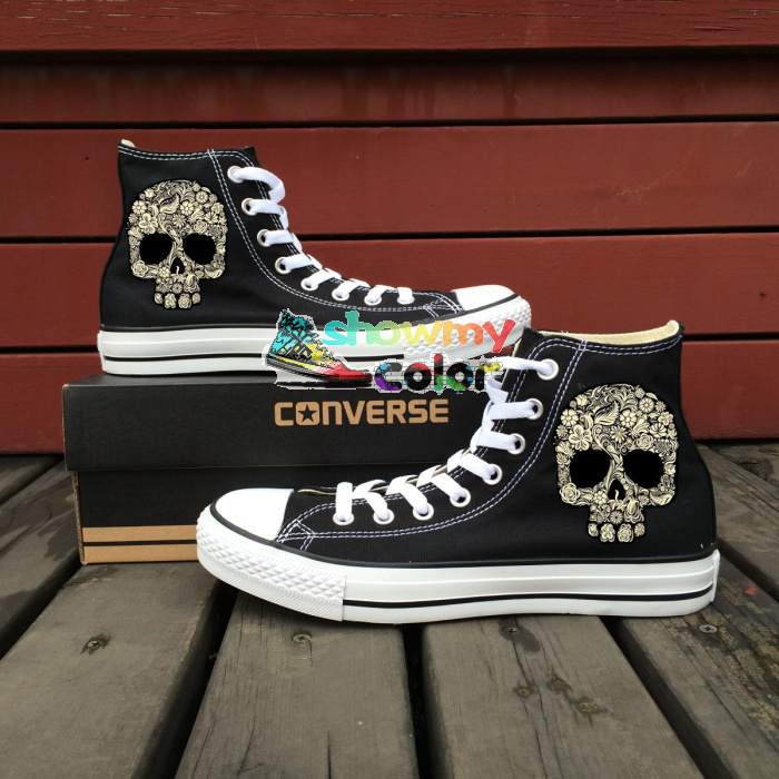 Sneakers Women Men Converse Chuck Taylor Floral Skull Original Design Hand Painted Shoes Skull Sneakers Skateboarding Shoes