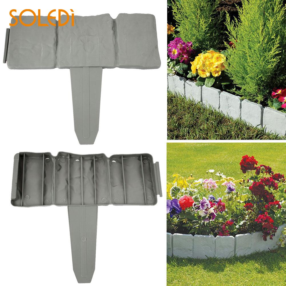 Gardening Home Garden Stone Garden Border 22.5*25.5*2CM Gray Beautiful Cobbled Garden Fence ...