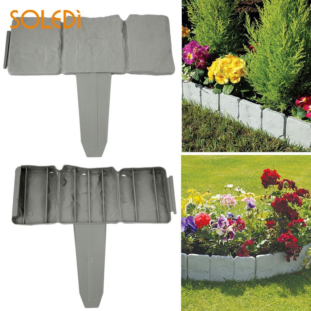 Gardening Home Garden Stone Garden Border 22.5*25.5*2CM Gray Beautiful Cobbled Garden Fe ...
