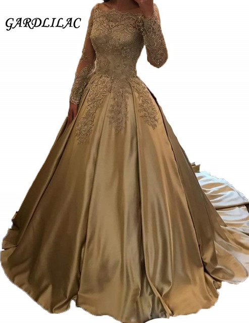 a4e92788895 Gold Long Prom Dress 2018 Off The Shoulder Long Sleeve Ball Gown Satin  Appliques Sweet 16 Dresses Wedding Party dresses G062