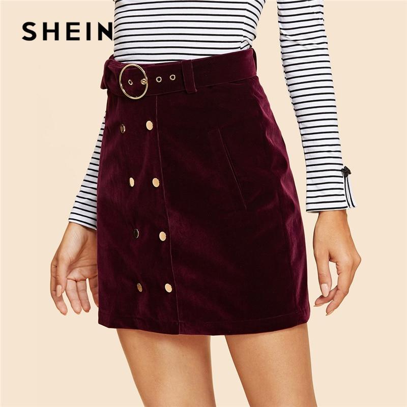 SHEIN Maroon Double Button Belted Velvet Skirt Vintage Mid Waist Short Mini Skirts Women Autumn Elegant Plain Sheath Bottoms