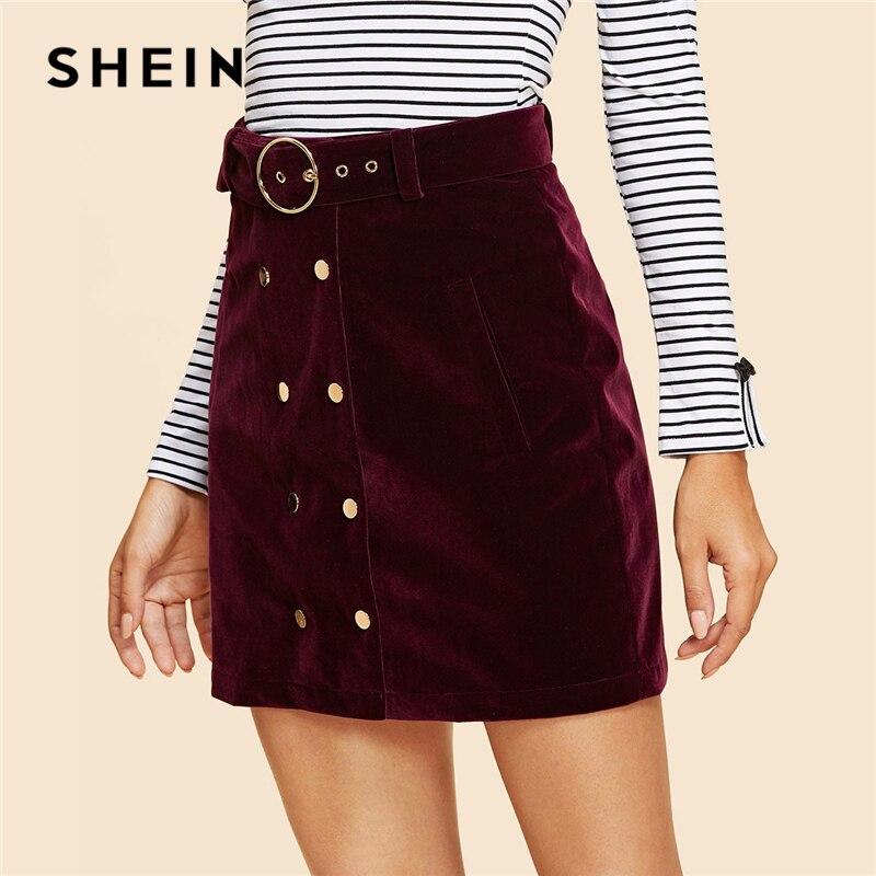 SHEIN marrón doble botón Belted terciopelo falda Vintage Mediados de cintura corto Mini faldas mujeres otoño elegante envoltura llana Bottoms