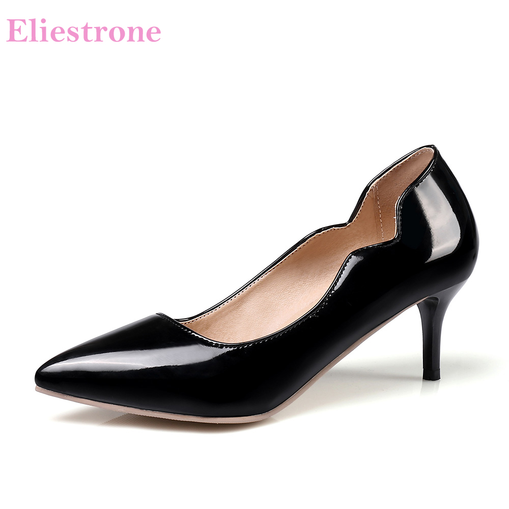 Hot Sales Sexy Red Apricot Women Glossy Formal Pumps High Heels Lady Office Dress Shoes KP88-1 Plus Big Small Size 11 30 43 48