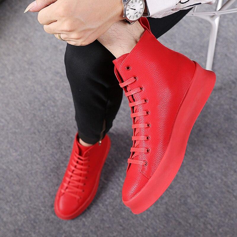 Ayakk.'ten Basic Çizmeler'de 2018 Bahar Yeni Stil Moda yarım çizmeler Erkekler Kırmızı beyaz ayakkabı El Yapımı Hakiki Deri Lüks Kişiselleştirilmiş Orijinal Tasarım Botları'da  Grup 3