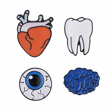 Lapel Enamel Pins And Designer Brooches For Women Human Organs Brand Broches Jewelry Fashion Safety Pins Mens Brooch For Suits(China)