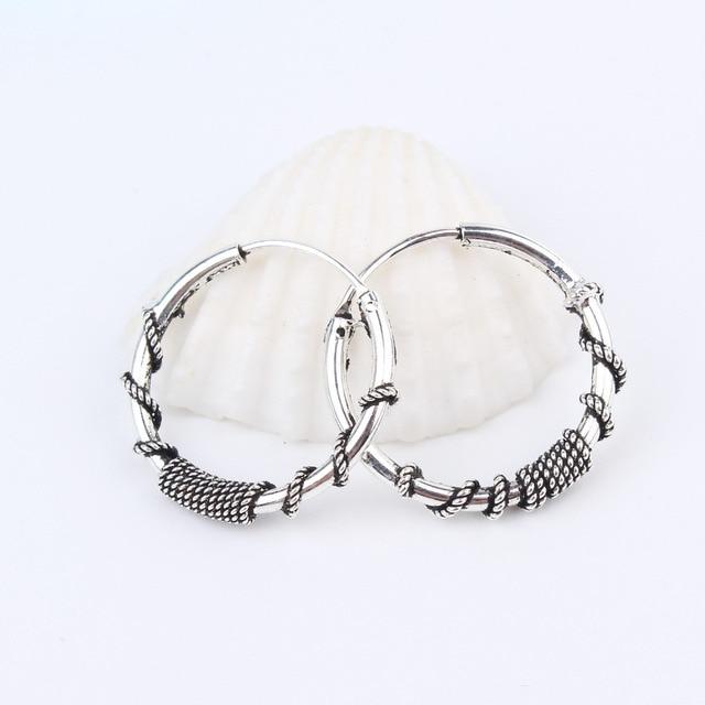 European Vintage Silver Color Endless Earrings Circle Handmade Middle Hoop Earri