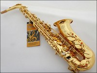 Selmer Top 802 Gold Plated Alto Saxophone Brand France Henri Sax E Flat Professional Musical Instruments