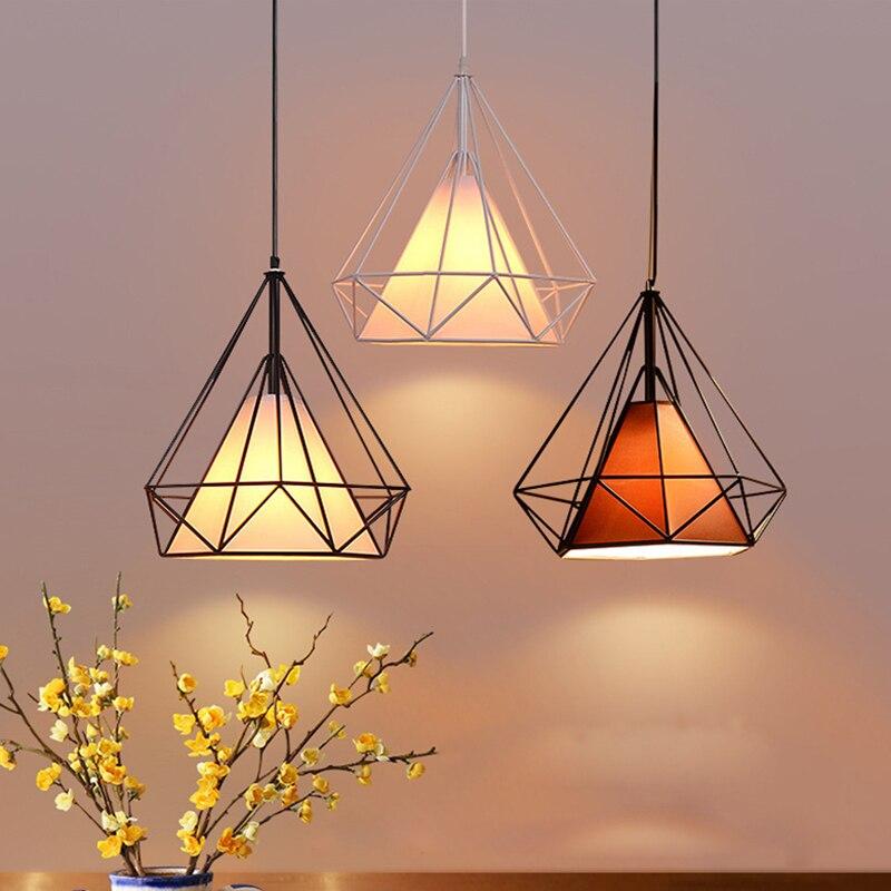 Moderno hierro pintado lámparas industriales E27 diamante araña LED 220 v iluminación para sala cocina dormitorio bar hotel