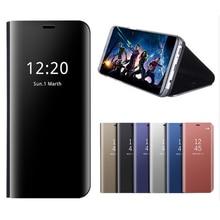 Mirror Flip Case For Huawei Y9 2018 Luxury Clear View PU Leather Cover For Huawei Y9 2018 Case for Huawei Y 9 2018 чехол tfn huawei y9 2018 tpu clear