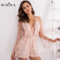 WAQIA Women Rompers Lace Jumpsuit Summer Short Overalls Jumpsuit Female Chest Wrapped Strapless V Neck Mesh