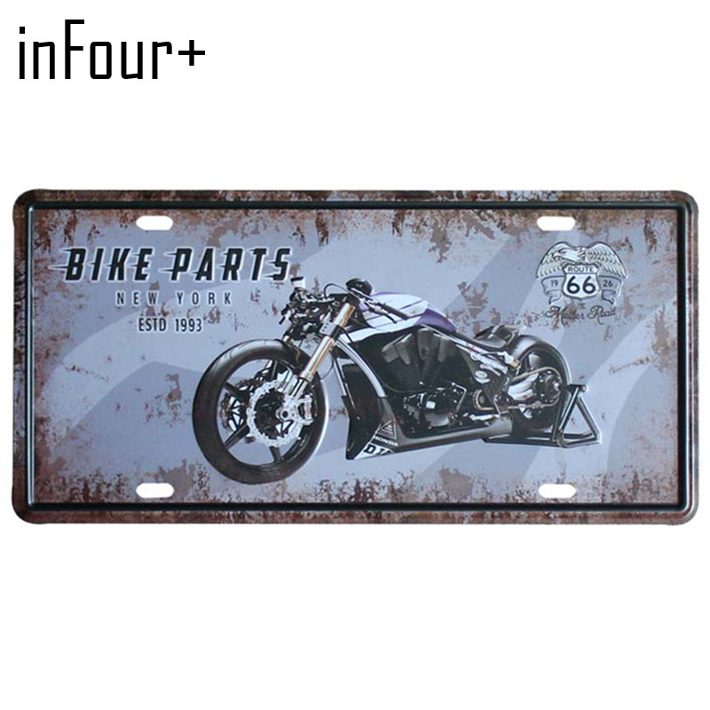 Cool Motorcycle License Plate Metal Plate Car Number Tin ...