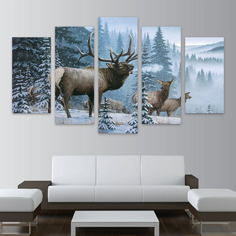 5 Panels Canvas Prints Elk Family In Snow Pine Tree Painting Poster Home Decor Fashion