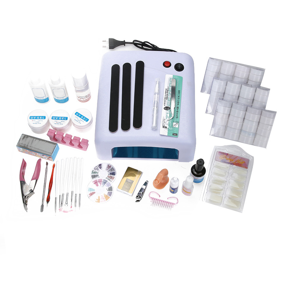 UV Gel Nail Art Full Set 36W UV LED Ultraviolet Phototherapy Lamp Dryer Nail Brushes Multiple Nail Glue Complete Nail Art Set nail art full set 36w nail lamp dryer