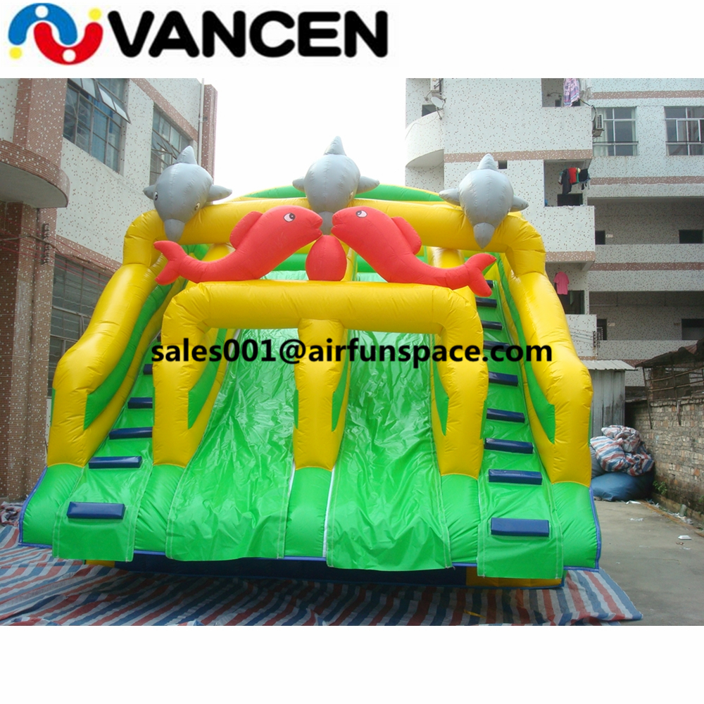Summer water park toys giant inflatable water slide for adult promotional sea world design inflatable water slide for sale title=