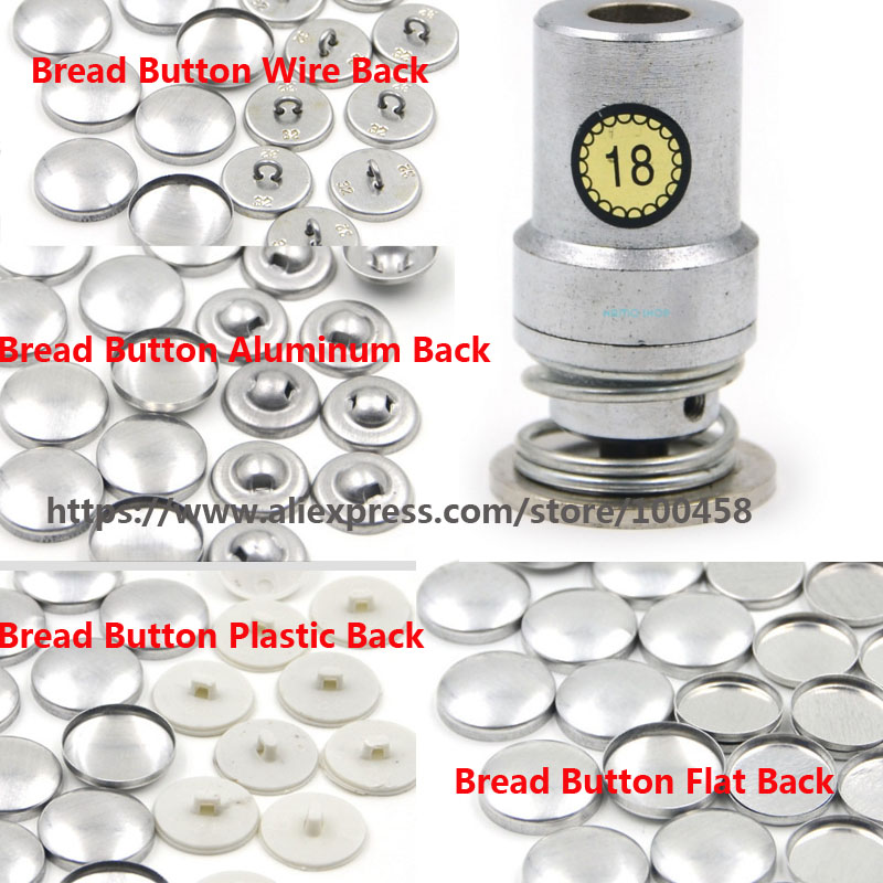 18L 1.05cm Fabric Cloth Covered Button Component with Die Tool Metal Bread Top Flat Plastic Wire AluminuBack DIY Handmade Button