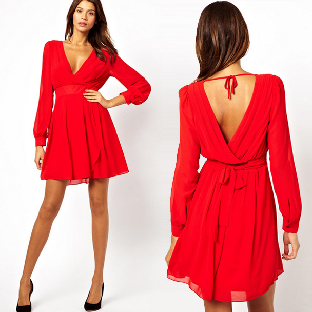 47315b54d9 Queechalle XS-XXL Women s Dress Spring Summer Sexy V Neck Chiffon Dress  Long Sleeve Casual Dresses for Women Black White Red