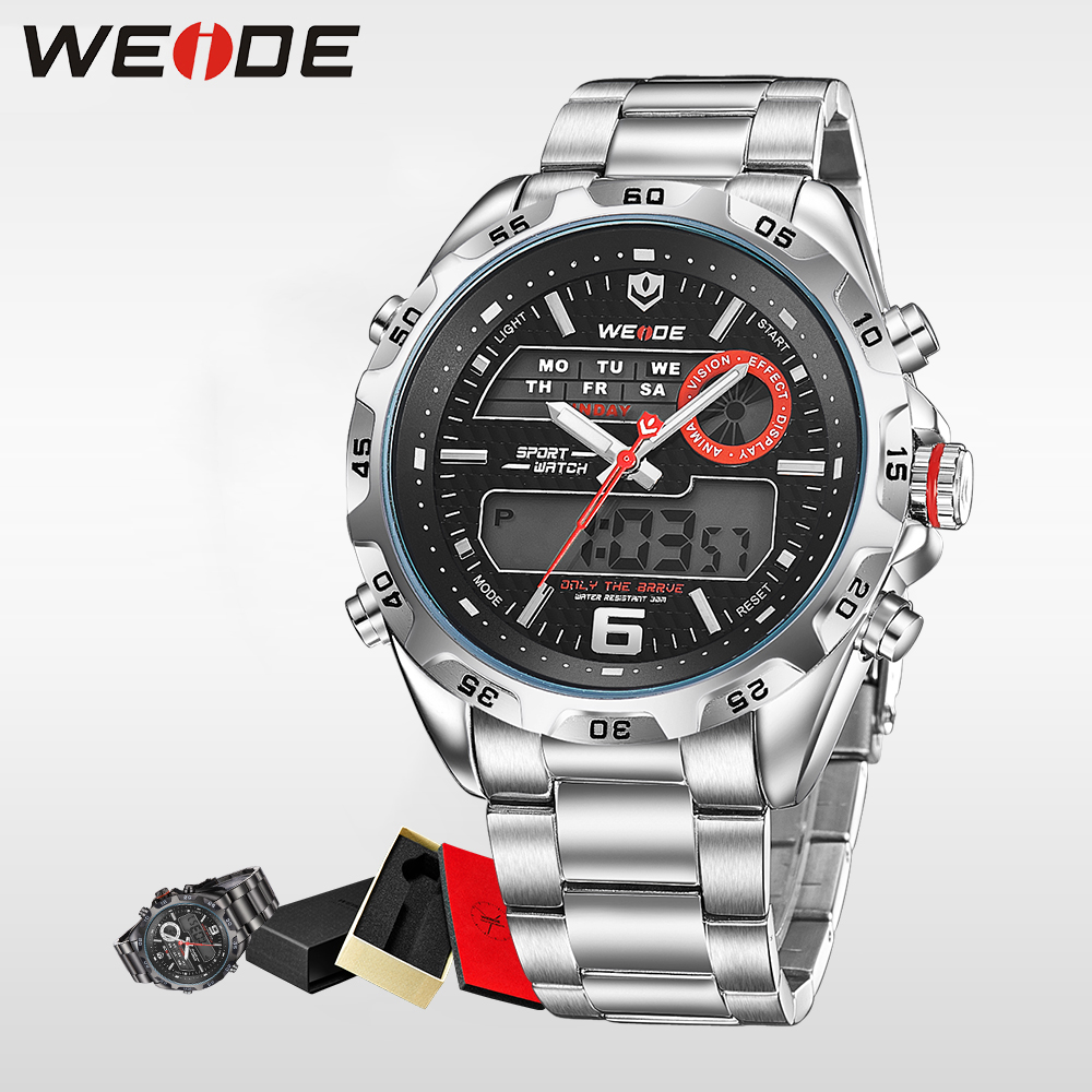 WEIDE Men Watches Top Brand Luxury Quartz Watch Meters Waterproof Back Light Display Wristwatch Digital Watch Alarm Clock WH3403