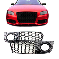 1 Pair Fog Light Grille Grill Only For 2009 12 A4 B8 RS4 Style Honeycomb Mesh Fog Light Open Vent Grille intake in Racing Grills