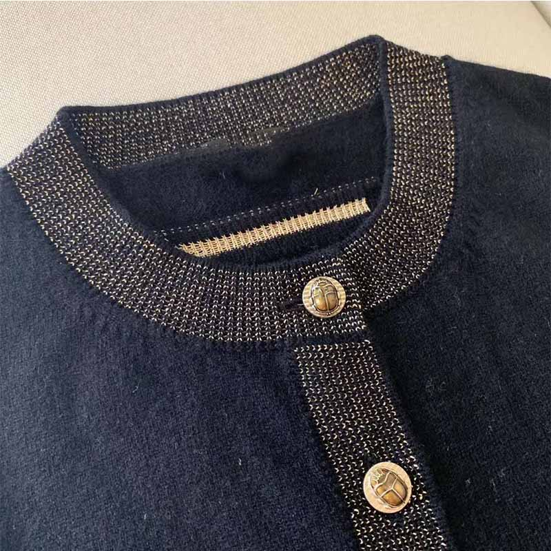 Cosmicchic Women Single Breasted Cashmere Cardigan Gold Line Beetle Button Brid Print Long Sleeve Sweater High Quality Knitted