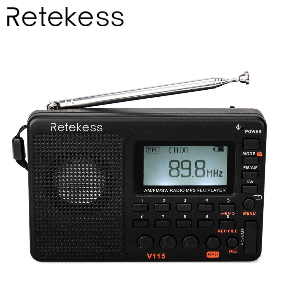 5* Protable FM//AM//SW Radio World Band Receiver MP3 REC Recorder DC 5V 2W US SHIP