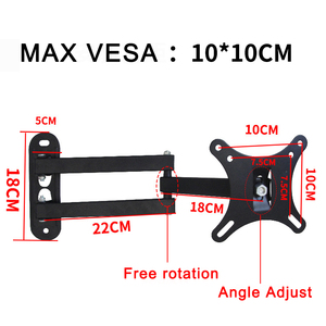 Image 3 - Universal TV  Wall Mount Adjustable Flat Panel Frame TV Wall Mount Bracket Support 15 Degrees Tilt for 10 27in LCD LED Monitor