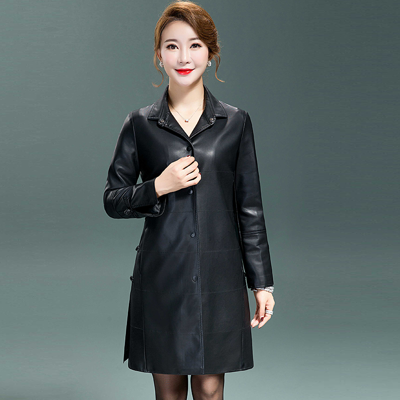 2018 New Fashion High Quality Winter   Leather   Jacket Women's Long slim   Leather   Coat Warm Plus size Women Buttons Parka QH1054