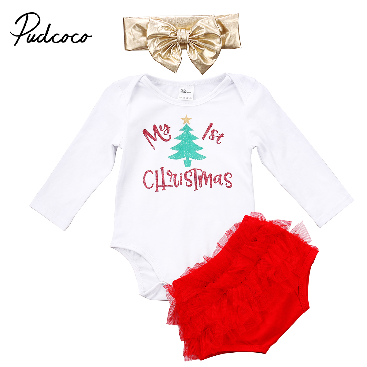 3PCS Newborn Baby Girls Christmas Cotton Long Sleeve Romper Lace Tutu Shorts Headbands Outfits Clothes