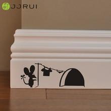 JJRUI Горячая милые мыши отверстие стены Художественная наклейка стиральная виниловая мышь дома плинтус Забавный ПВХ дома детская комната стены стикеры s