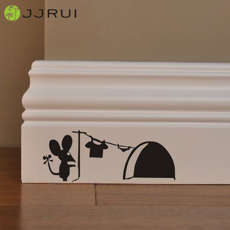 JJRUI Hot Sale Cute Mouse Hole Wall Art Sticker Washing Vinyl MICE Home Schening Board Funny PVC Home Kids Room Wall Stickers