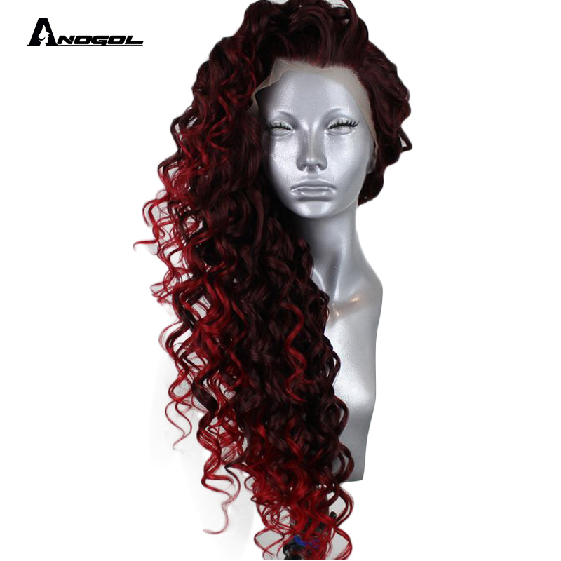 Anogol 24 Isla Bright Red Ombre Long Kinky Curly Free Part Synthetic Lace Front Wig For