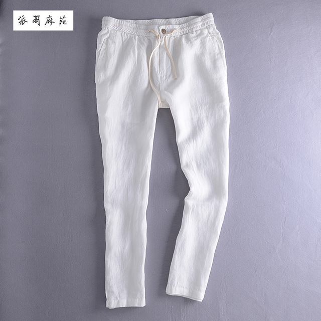 093c84a78ab 2016 New Arrival Autumn Male Casual Linen Ankle Length Trousers Elastic  Slim Fit Straight Pants Breathable